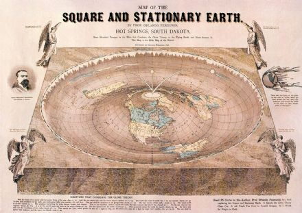 World Map of Square Stationary Flat Earth, Orlando Ferguson 1893 Print/Poster (4861)